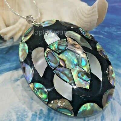 Natural Abalone Shell Turtle Necklace Shell Honu Sea Turtle Pendant lge 5.4cm