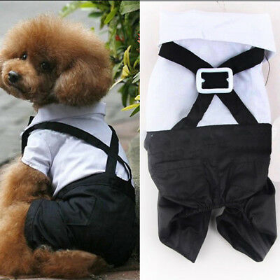 Small Pet Dog Cat Tuxedo Bow Tie Suit Prince Wedding Puppy Clothes Coat Apparel