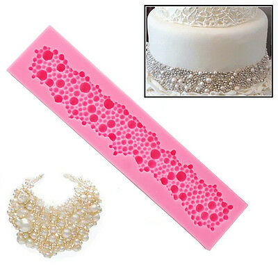 Pearl Silicone String Beads Mold Cake Decor Fondant Baking Mould Kitchen Tool~