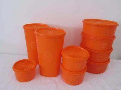 Bulk Lot 9 Vintage TUPPERWARE Orange CANISTERS Pantry Storage Containers