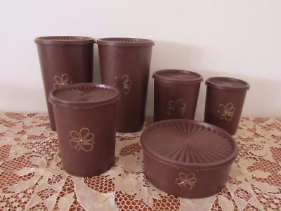 Bulk Lot 6 Vintage TUPPERWARE Brown CANISTERS Pantry Storage Containers