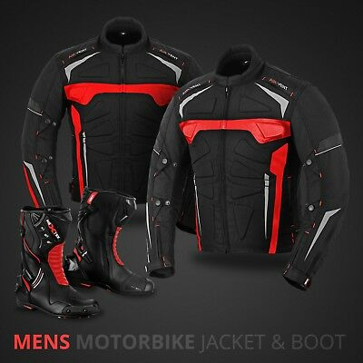 Motorbike Textile Jacket Coat Waterproof Motorcycle Leather Boot Racing Shoes