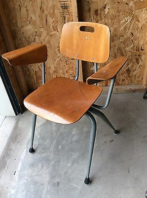 Vintage Mid Century Wood / Metal Chair With Arms - Very Good