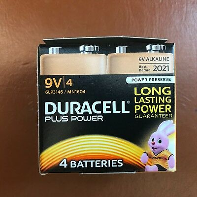 4 x Duracell 9V PP3 Plus Power Batteries Smoke Alarm LR22 MN1604 Long Lasting