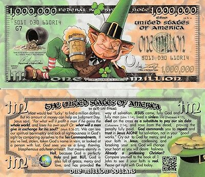 St Pats Lucky Bucks Million Dollar Bill Tract Fake Play Funny Money Novelty Note