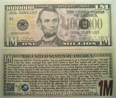 New Design Lincoln Million Dollar Bill Tract Fake Play Funny Money Novelty Note