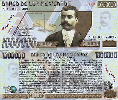 Emiliano Zapata Million Peso Bill Spanish Tract Fake Funny Money Novelty Note