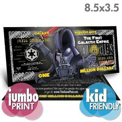 JUMBO Darth Vader Million Dollar Bill Tract Fake Play Funny Money Novelty Note