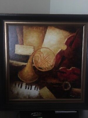 LARGE Original Oil Painting Music Piano Horn Red Black Frame