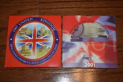 Great Britain United Kingdom 1997 & 2001  Brilliant Uncirculated Mint Sets
