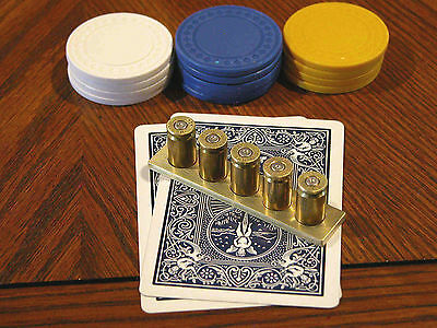 9Mm Luger Poker Card Protector/ Poker Hand Guard + Matching Keychain