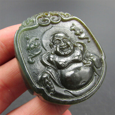 Chinese hard jade Jadeite hand-carved collection Pendant necklace Buddha 06