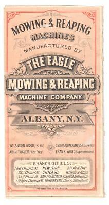 Antique Trade Card Eagle Mowing & Reaping Machines Albany, Ny For 1 Or 2 Horses
