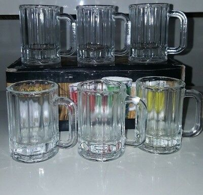 Home Essentials Happy Hour 6 Shooters Clear Glass Mini Beer Mugs