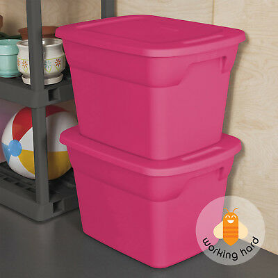 PLASTIC TOTE BOX 18 Gallon Stackable Storage Container Bin With Lid Pink 8 PACK & PLASTIC TOTE BOX 18 Gallon Stackable Storage Container Bin With Lid ...