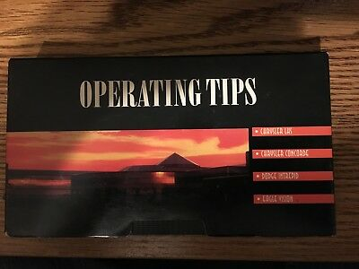 96 '97 Operating tips VHS Chrysler LHS Concode Dodge Intrepid Eagle Vision Mopar