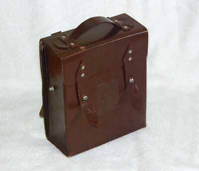 Vintage First Aid Brown Leather Military Medic Bag Doctors Leather Box
