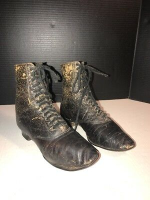 Women's Antique Victorian Black Leather High Top Lace-up Shoes Boots