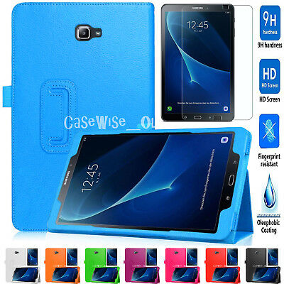 """New SAMSUNG GALAXY TAB A6 10.1"""" Magnetic LEATHER Stand Case + Tempered Glass 9HD"""