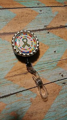 Lanyard Retractable Reel Badge ID Card Holder Autism Awareness Ribbon on White
