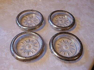 Crown Sterling set of 4 Vintage Glass Coasters with Sterling Rims each marked