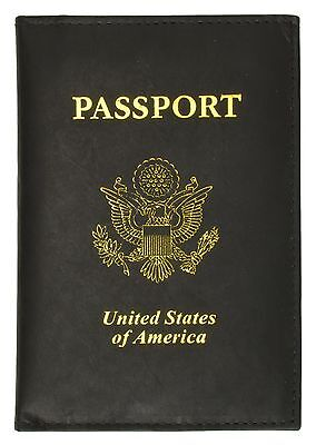 2 X New Black Leather USA Passport Travel Cover Holder / Wallet
