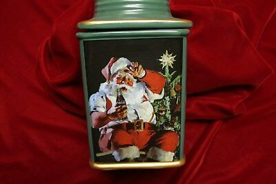 Coca Cola Christmas Stoneware Canister, In Original Box , 32 Ounce Canister, New