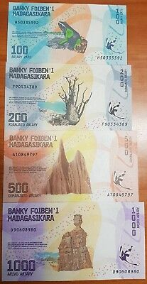 Madagascar 100 200 500 and 1000 Ariary Uncirculated 2017 Banknote Set New Design