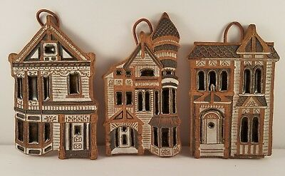 Lot of 3 Victoria Little John Ceramics House Wall Plaque Trivet Stoneware