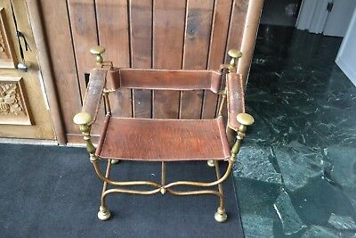 Rare Original Gilt-Iron and Brass Curule Savonarola Chair Maison Jansen?