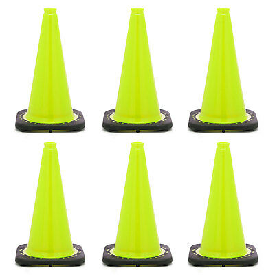 """18"""" Lime Green Traffic Cone Black Base, 3lbs (Pack of 6)"""