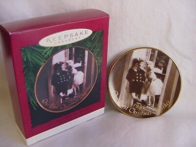 1996 HALLMARK CHRISTMAS ORNAMENT OUR FIRST TOGETHER vtg style b&w photo dBOX