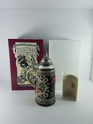 "Budweiser Gerz N. Rockwell ""new"" Sat Evening Post 1993 ""santas Helper"" Stein"
