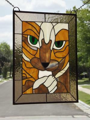 """PUURRRFECT!!!Stained Glass Panel 20x15 3/4"""" (51x40 Cm) EBSQ Artist"""