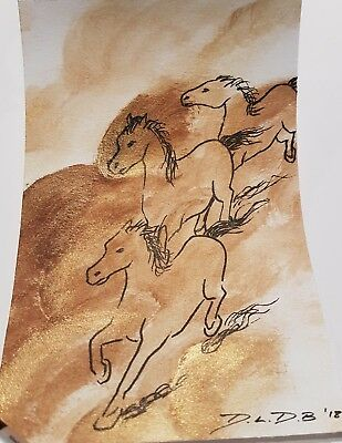"Galloping Horses 4x6"" acrylic & ink original painting wild ponies"