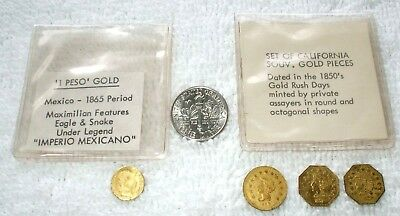 3 Souvenir California Gold And 1 Peso Souvenir Gold Tokens