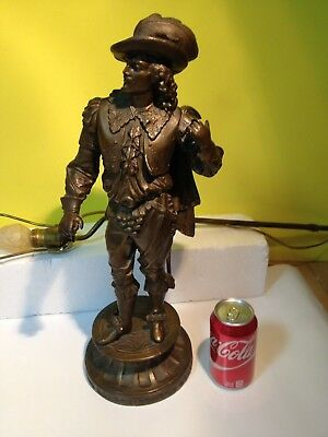 "Rare Antique Bronze heavy  Statue  Soldier / Lamp  20"" Tall"