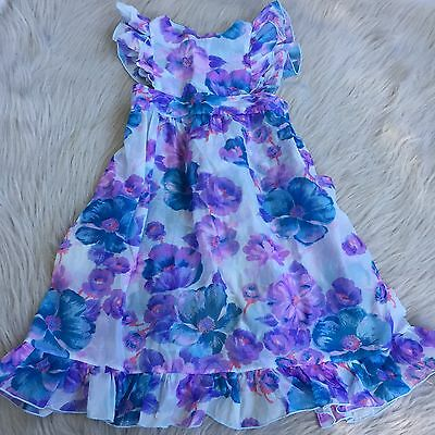 Vintage Handmade Purple Blue Sheer Ruffle Pinafore Maxi Dress Toddler Girls