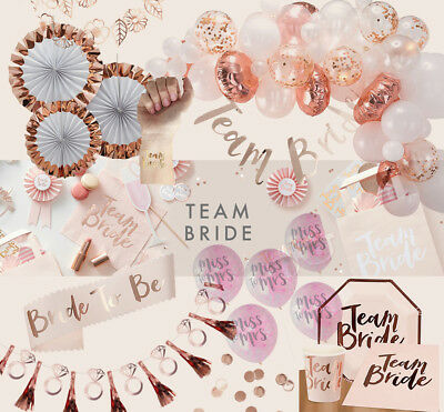 Pink & Rose Gold Team Bride To Be Hen Party Accessories Sashes Balloons Favours