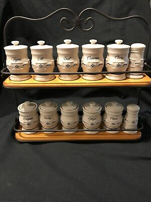 Longaberger Spice Rack with Heritage Blue Pottery Spice Jars