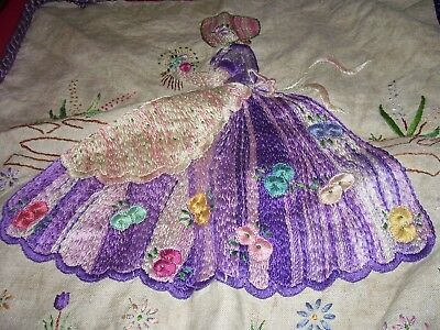 Antique Needle Point Tapestry Victorian Lady