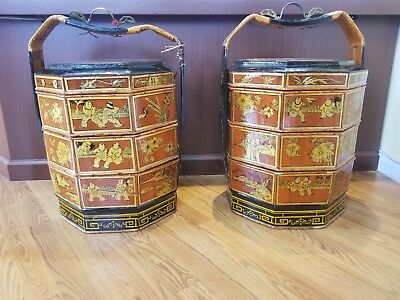 Pr. Of Antique Chinese Wedding Baskets 3 Tier Hand Painted Bamboo Brass Handle