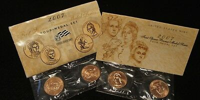 2007 United States Mint First Spouse Bronze Medal Series 4 Medal Set NICE!