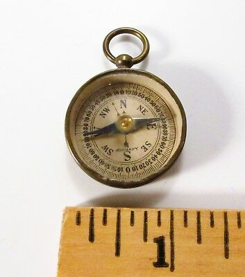 Vintage Made in Germany Solid Brass & Real Glass Small Pocket / Pendant Compass