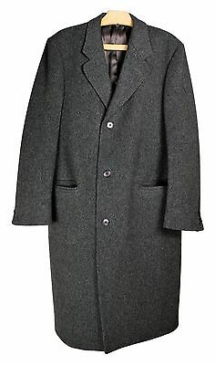 BASKIN Pure Wool Charcoal Single Breasted Overcoat Trench Coat Men's Sz. 40 R