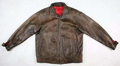 Vintage LEE Soft Brown Leather Lightly Insulated Motorcycle Jacket Sz. L/XL