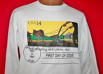 Vintage 80s STEEL PLOW First Day Of Issue US Postage Stamp SWEATSHIRT L Rare