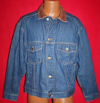 Vintage MARLBORO COUNTRY STORE Demin Blue Jean JACKET M Leather Collar Western