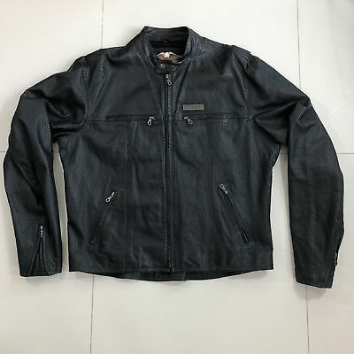 Harley Davidson Black Leather Motorcycle Fully Perforated Mens Jacket Men's XL
