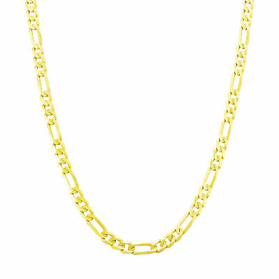 """14K Yellow Gold 4.5mm Italian Figaro Chain Link Necklace Mens Women 24"""" 24in"""
